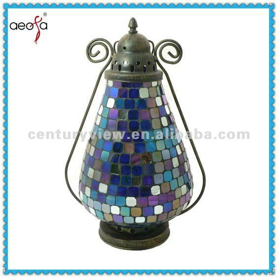 Bule Color Garden Use Rustic Hanging Candle Garden Lanterns