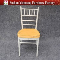 Fully welding and good grinding white Chiavari wedding venue Chair with Yolk seat cushion for gala dinner YC-A21-70