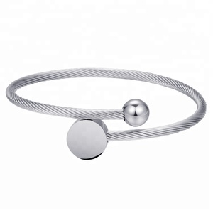 Cheap bracelt, High quality Fashion design stainless steel wire bangle cuff bracelet for girl