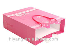 Fashion Pink gift paper bag packaging shopping with ribbon