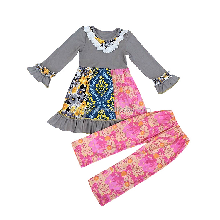 Children clothes suits Boutique Baby Girls fall and winter Clothes tops and ruffle pants outfits