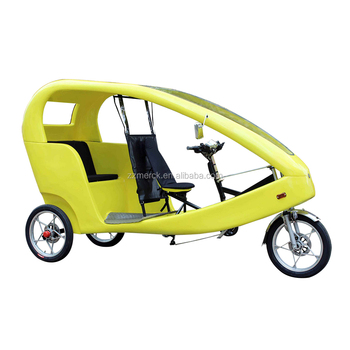 6 Speed Pedal Assist Bicycle Battery Auto Electric Rickshaw, Electric Tricycle Adults 2 Passenger Pedicab Rickshaw