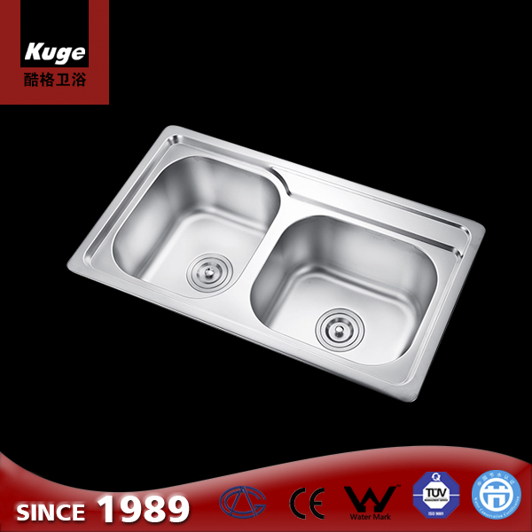 Stainless steel double bowl kitchen round matt sink for sale