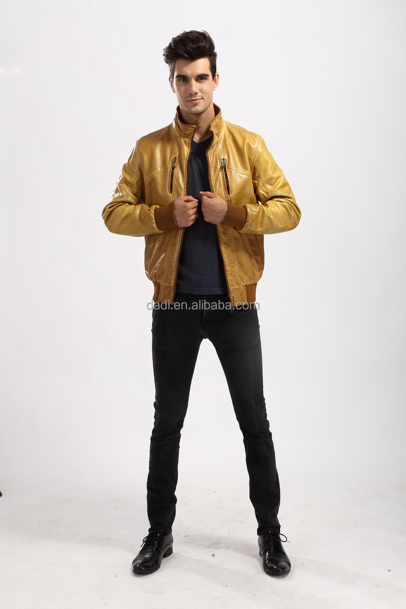 2014 Stylis Slim Fit Men Leather Jacket