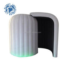 Wholesale Big space white lighting round style inflatable dome photo booth enclosure with 1 door for sale