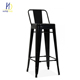 Modern Multi-colored High Metal Leg Bar Stool Chair With Back Rest