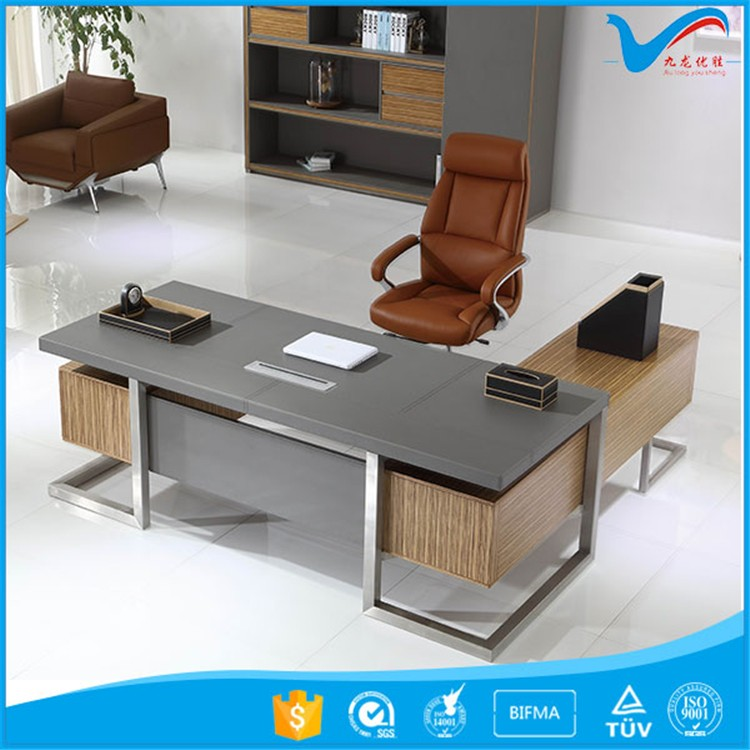 luxury office table executive ceo wooden desk office desk <strong>W</strong>-<strong>07</strong> stainless steel legs computer office desk