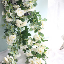 YO CHO Christmas Home Decoration Handmade Fake Rose Vines Rose Garland Flower Decorative Silk Artificial Rose Garland
