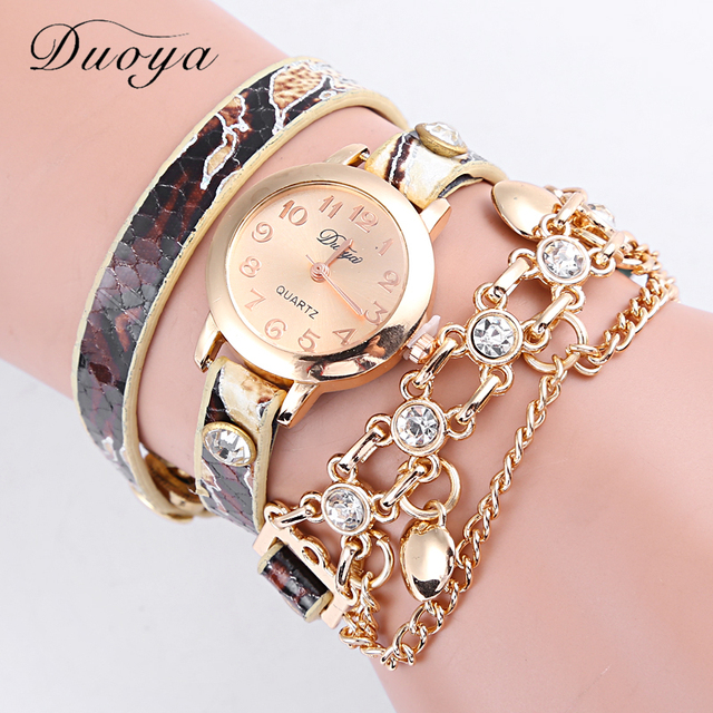 2016 Top Luxury Leather Chain Wrap Women Watches Ladies Vintage Quartz Bracelet Watch Women Wristwatches Relogio Feminino Clock