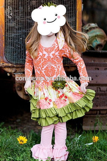 high quality teen girls cheap cotton outfit dress top & pink long pants girls clothing for giggle moon