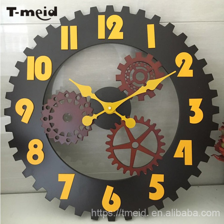 50cm diameter Handmade Oversized 3D retro decorative gear wooden vintage large wall clock for gift