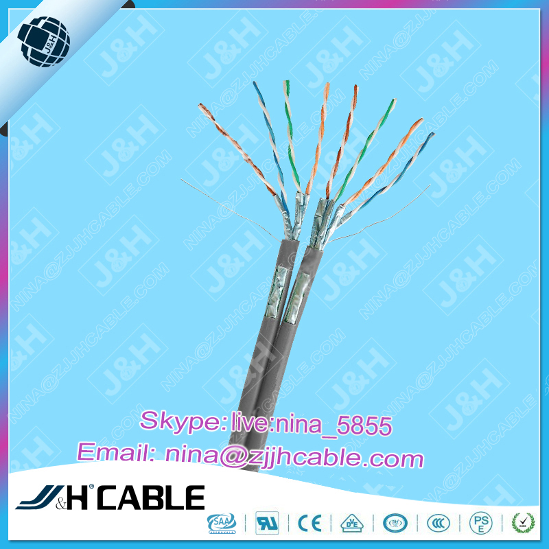 4 pair 23AWG Duplex FFTP Cat7 Ethernet Cable With LSZH Jacket Passes RoHS REACH Certificated