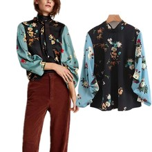 Z91264B Fashion Women Clothing 2017 100% Cotton Women Tops Blouse Floral Digital Print Long Sleeve Blouse