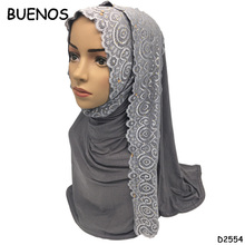 Fashion Jacquard Women Long Muslim Cotton Lace Scarves Sex Arab Hijab