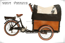 CE Holland bakfiets family 6 speed electric cargo 3 wheel trike with cabin box factory