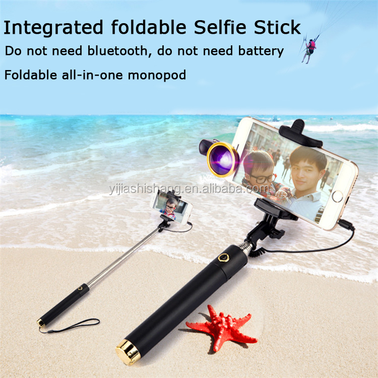 monopod extendable selfie stick with cable for iphone 6 5 samsung android universal buy selfie. Black Bedroom Furniture Sets. Home Design Ideas
