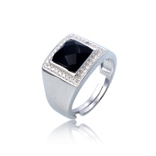 Silverwill luxury 925 sterling silver ring pave with cz square stone adjustable ring for men