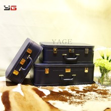 2017 New design wooden PU decorative home leather travel suitcase/storage box