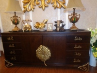 Grand Flower Center Carving Credenza