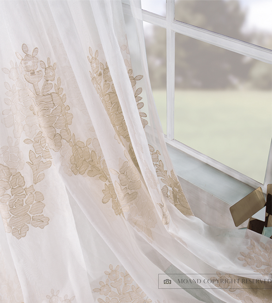 Top Selling European Style 100% Polyester Embroidery Window Curtains Rose Gold Roll Lace Sheer