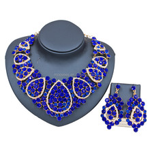 african bridal jewelry sets high quality royal blue gold fashion wholesale