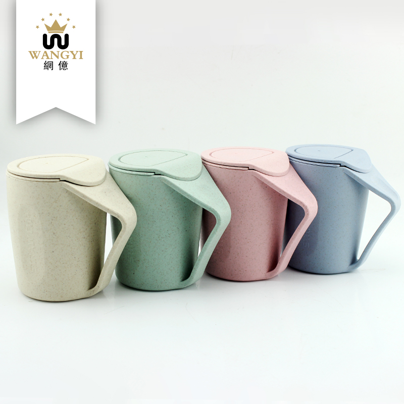 Newest style eco-friendly healthy colorful drinking tea wheat <strong>cup</strong> with lid
