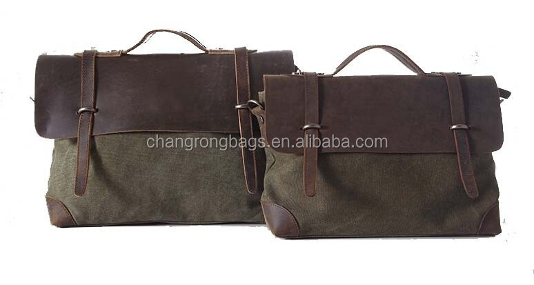 Fashion men wet waxed canvas travel bag with top grain strap leather cover and handles