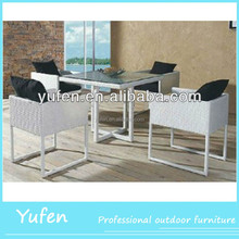 Rattan antique white dining room furniture sets
