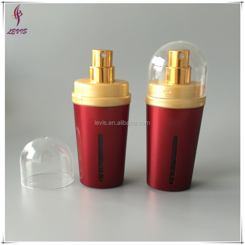 Empty red 15 ml luxury aluminium perfume bottle with sprayer