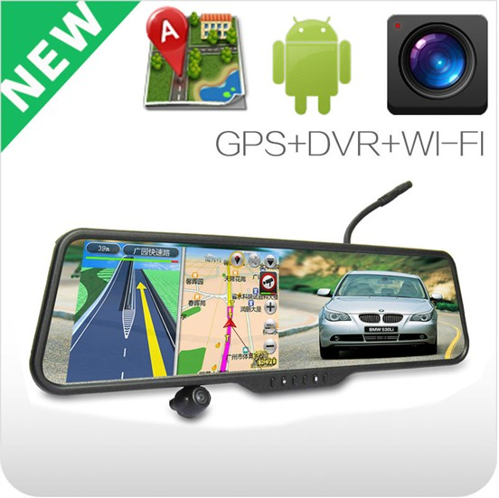 Android GPS Bluetooth Wifi 4.3'' mirrors type DVR with car camera & car front and rear camera