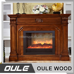 Solid wood American style hand carved fireplace with marble top