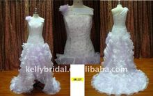 one shoulder with lace beading flouncing beach wedding dresses