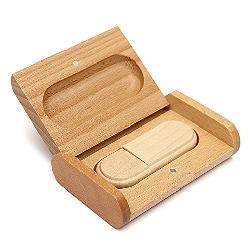 Curved Round Edge Beech Wood Case USB Drive Memory Flash + Logo