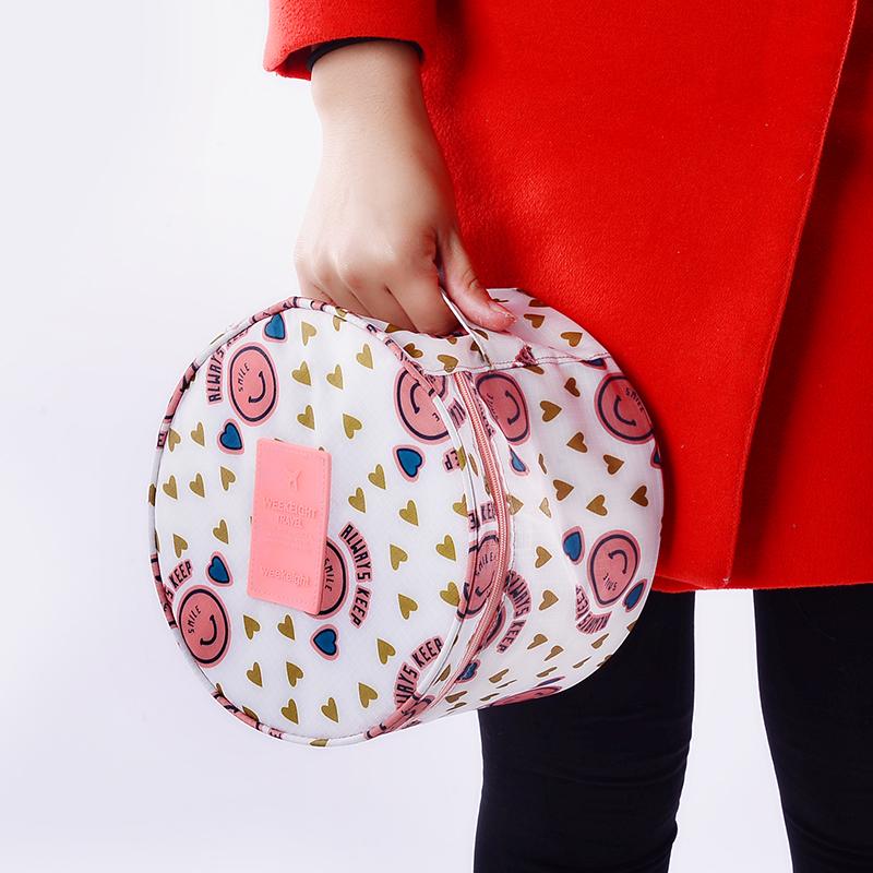 nouveau portable ronde voyage sous v tements organisateur sac cosm tique sac sacs de rangement. Black Bedroom Furniture Sets. Home Design Ideas