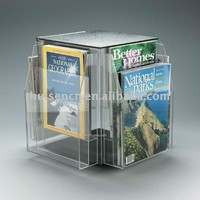 rotating acrylic magazine display stand, custom office supplies holders