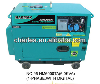 6.0KVA SILENT TYPE AIR COOLED DIESEL GENERATOR SINGLE PHASE WITH DIGITAL