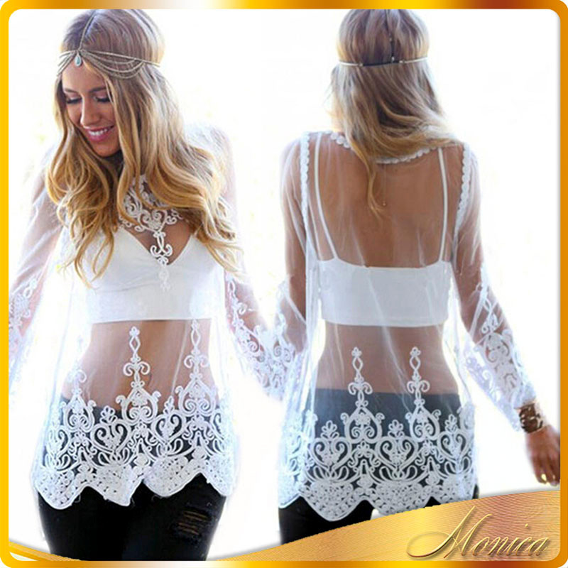 Summer Autumn Sexy Women Blouse 2016 New Arrival O-neck Full Sleeve Solid Crochet Lace Mesh Hollow Out Tops