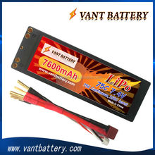 long cycle life with large capacity lithium rechargeable lipo 7600mah 75c 2s 7.4v battery