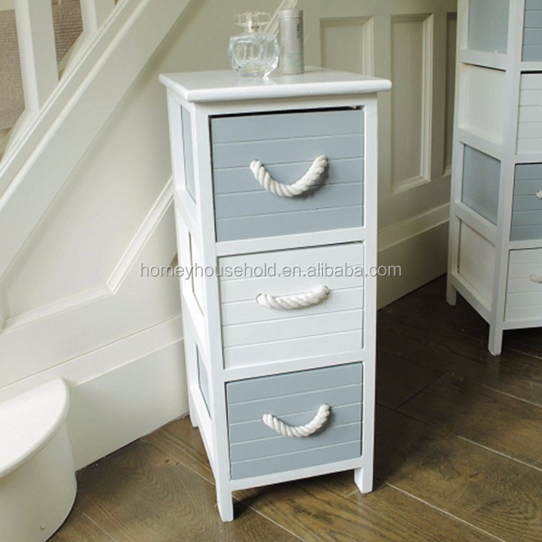 Grey White Shabby French Chic Wood Storage Cabinet 3 Drawers Living room Furniture