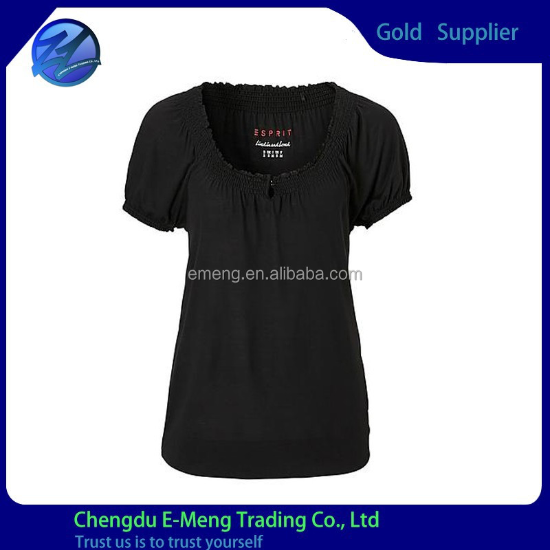 High Quality New Design Round Neck Black Tshirts for Woman