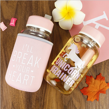 UCHOME Wholesale Unicorn Glass Water Bottle With Heat-Resistant Sleeve