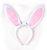 top selling plain rabbit fur headband white&pink ear party decoration