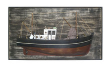 Antique wooden half hull wall plaque with fishing boat, rustic nautical plaque,Gifts,Souvenir,Handicrafts,Wall decoration