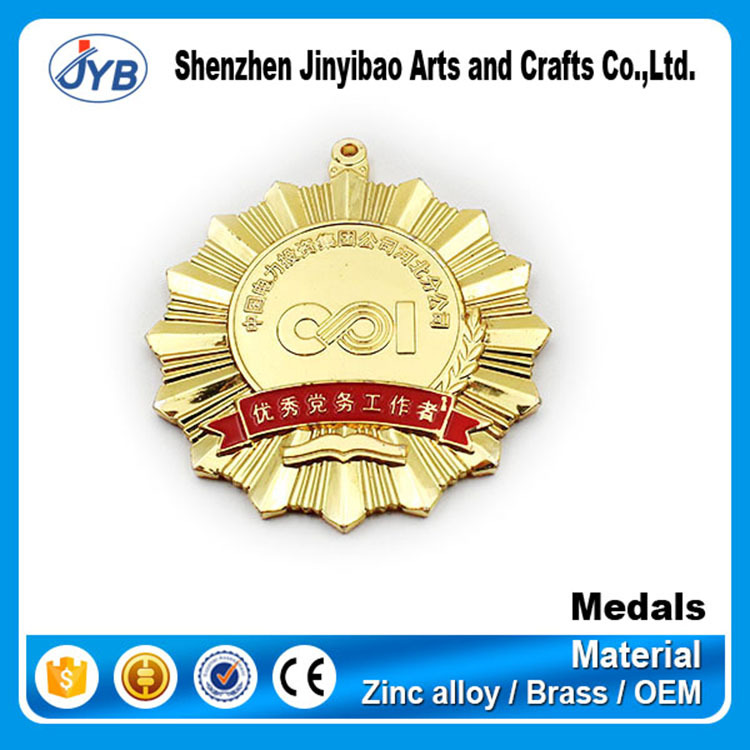 wholesale cheap customized gold Distinguished Service medal manufacturer