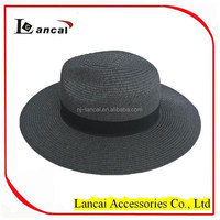 new fashion wholesale ladies straw fedora hat with ribbon band trim