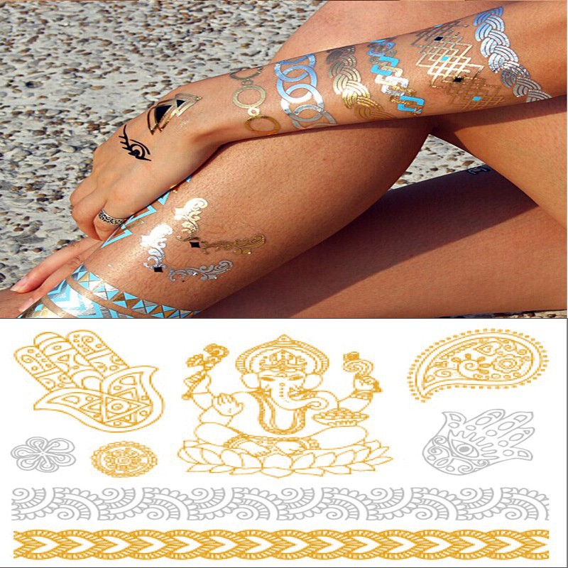 Wholesale golden foil tattoo stickers temporary metallic neck tattoo designs for men