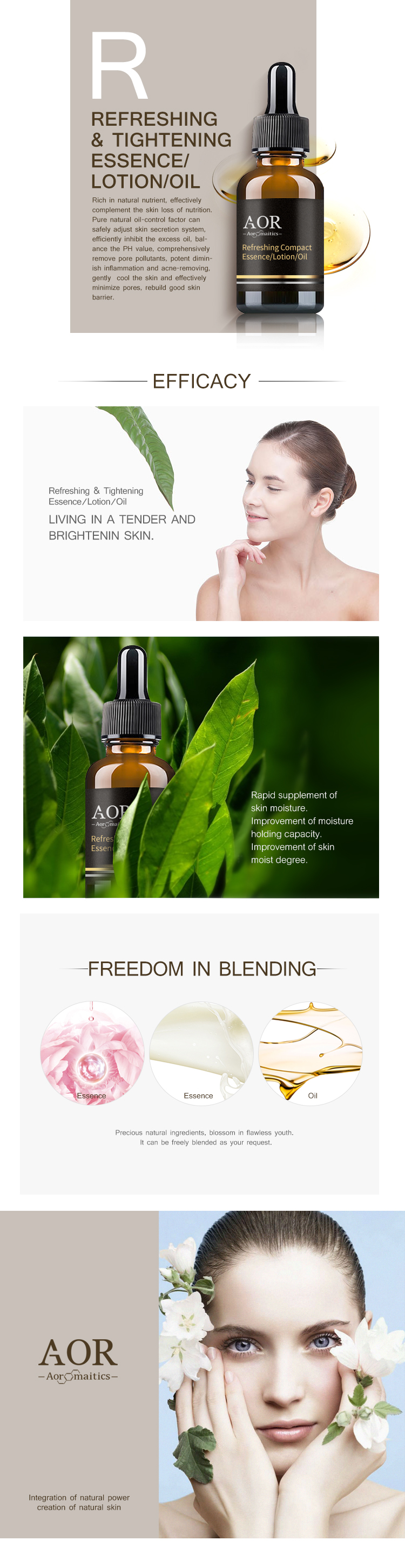 Refreshing Tightening Essence/Lotion/Oil Wholesale for Oil-control Anti-acne with OEM/ODM