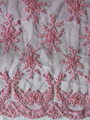 Pink beaded fabric lace for wedding/ wedding lace