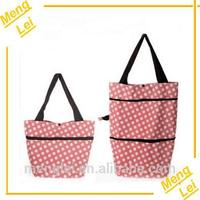 plastic 2 wheels shopping bag with wheels
