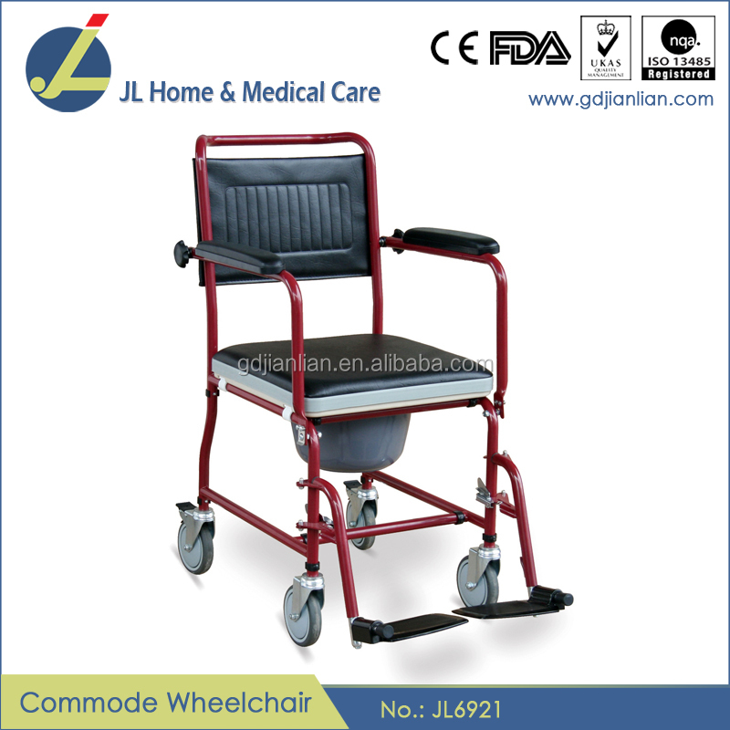 JL Steel aluminum folding commode wheelchair with bedpan JL6921